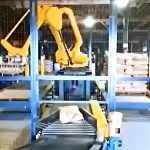 automatic bag palletizing system with dual stacking conveyors
