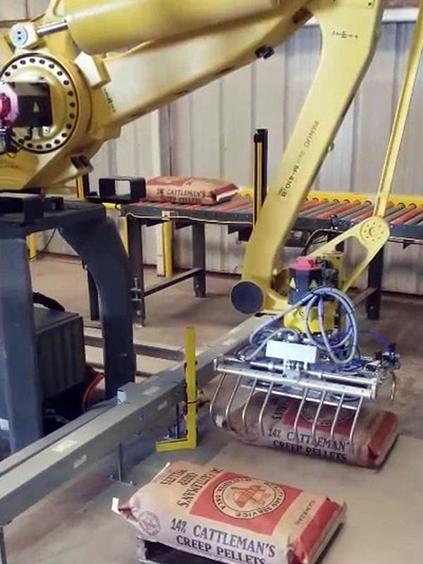bag palletizing robot palletizes 50lb bags of creep cattle feed pellets
