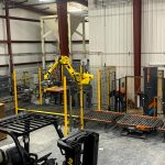 fully automatic bag palletizing system with robot pallet dispenser and stretch wrapper