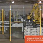 semi-automatic bag palletizing system at powder bagging plant