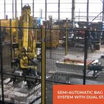 semi automatic bag palletizing system with dual stacking stations