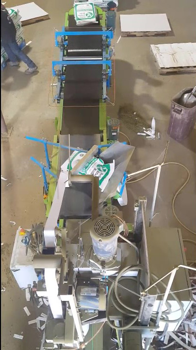 top down view of feed bagging system showing conveyors and palletizing