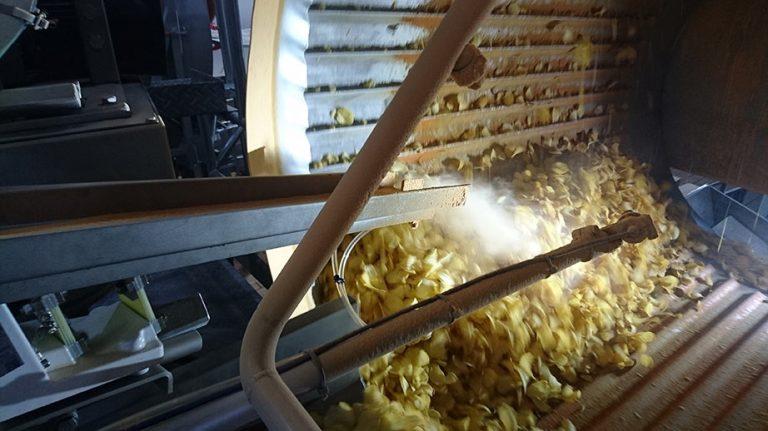 Seasoning potato chips using an electrostatic seasoning system